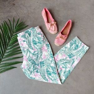Old Navy Green Leaf Pink Floral Print Pixie Pant 8